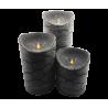 VELA LED PARAFINA LLAMA MÓVIL CON IR DE 7.5X12.5 CM COLOR GRIS (RELIEVE)