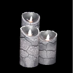 VELA LED PARAFINA LLAMA MÓVIL IR DE 9X12.5 CM COLOR GRIS (RELIEVE)